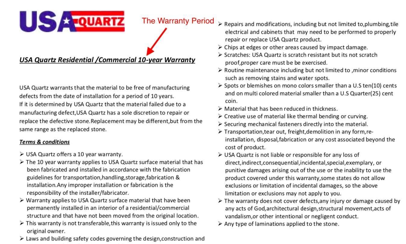 quartz warranty period