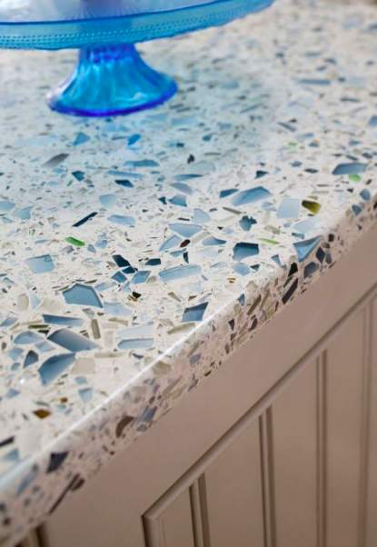 recycled glass countertops sustainable kitchen